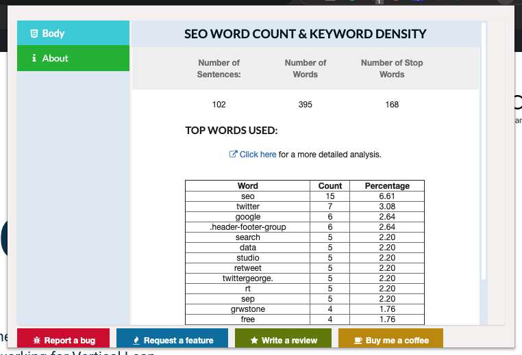 chrome extension SEO Word Count Keyword Density