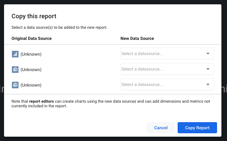 copy google data studio reports new data source selector
