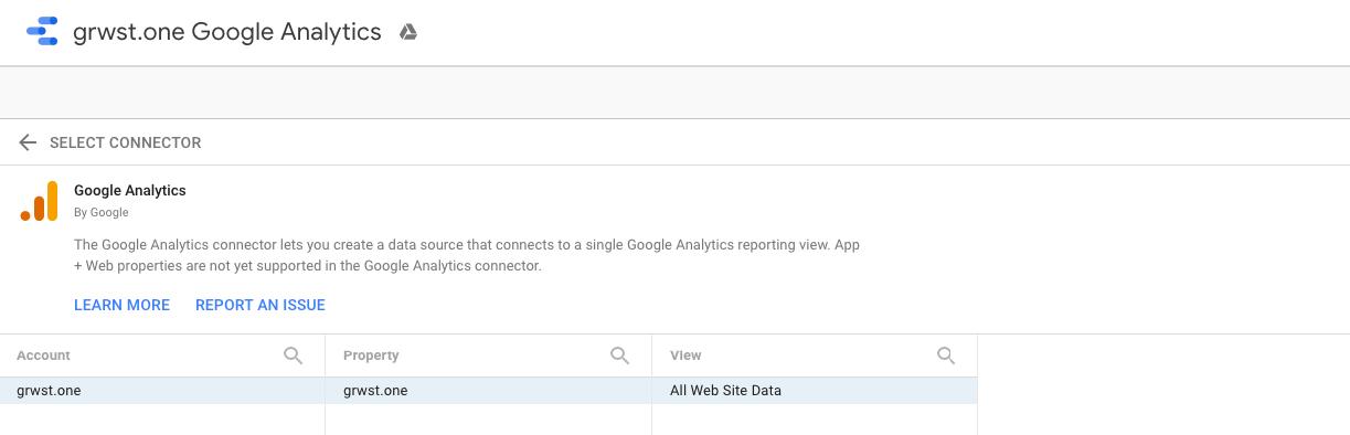 google data studio google analytics connector example